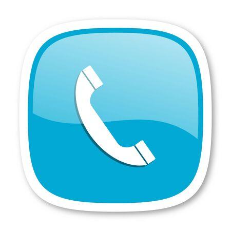 phone icon: phone blue glossy icon Stock Photo