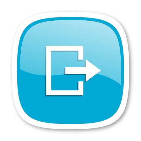 way out: exit blue glossy icon
