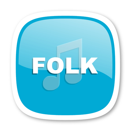 folk music: folk music blue glossy icon