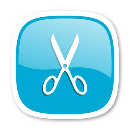 shampooing: scissors blue glossy icon