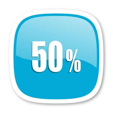 50: 50 percent blue glossy icon