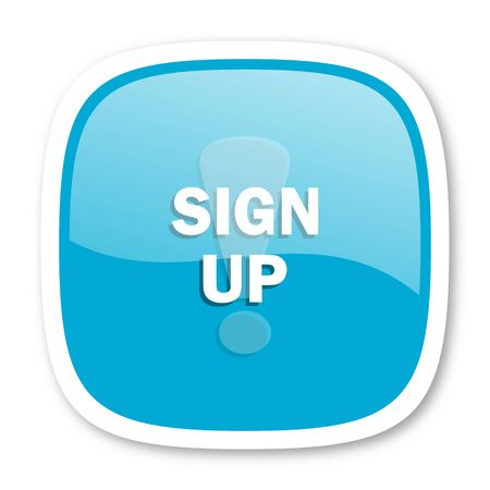 sign up: sign up blue glossy icon
