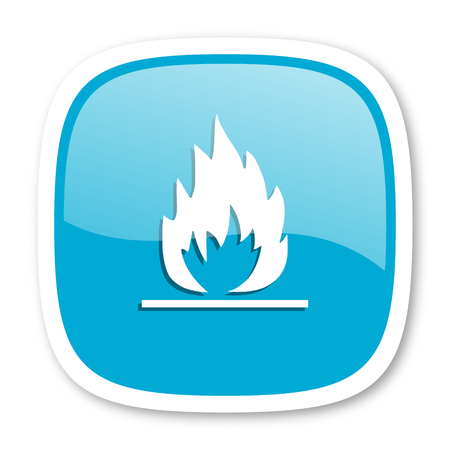 blue flame: flame blue glossy icon Stock Photo
