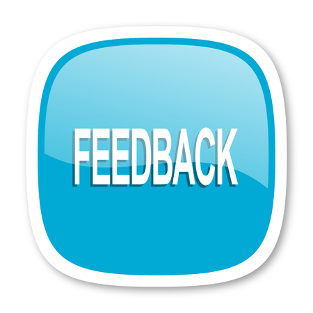feedback: feedback blue glossy icon Stock Photo