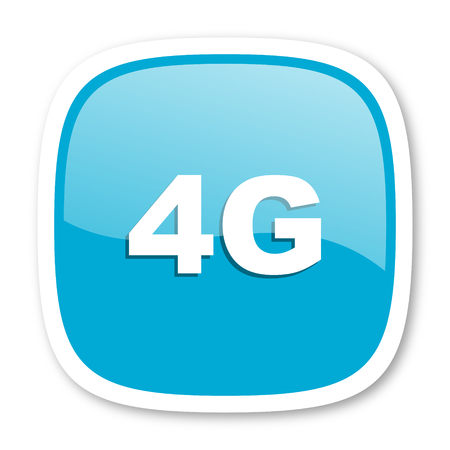 4g: 4g blue glossy icon Stock Photo