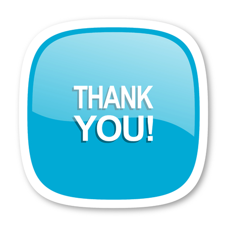blue you: thank you blue glossy icon