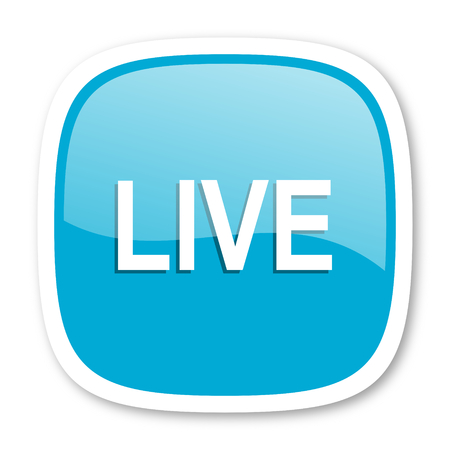 news cast: live blue glossy icon Stock Photo