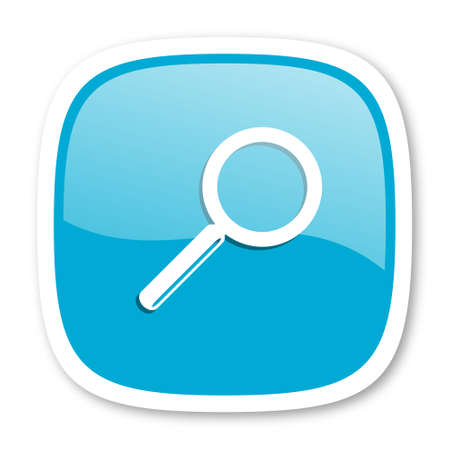 glossy icon: search blue glossy icon Stock Photo