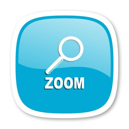 zoom blue glossy icon