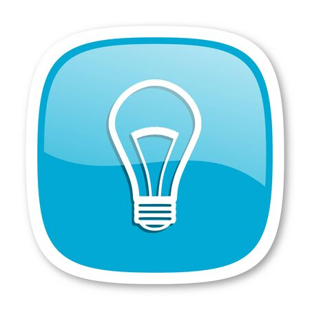 lighting button: bulb blue glossy icon