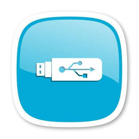 pendrive: usb blue glossy icon