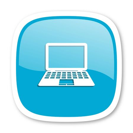 laptop icon: computer blue glossy icon