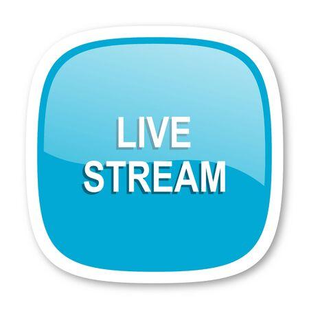 news cast: live stream blue glossy icon Stock Photo