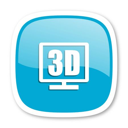 display: 3d display blue glossy icon Stock Photo