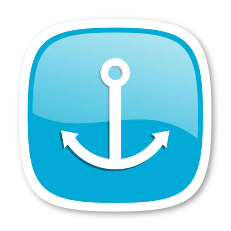 blue button: anchor blue glossy icon