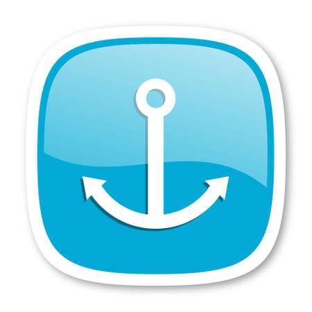 quay: anchor blue glossy icon