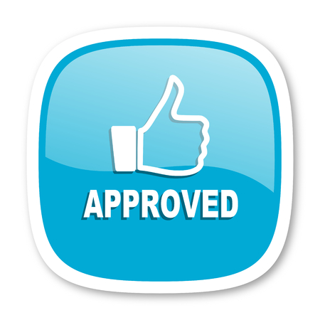 approved: approved blue glossy icon