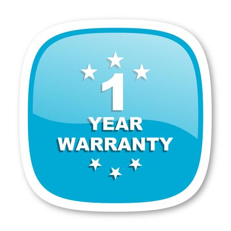 one year warranty: warranty guarantee 1 year blue glossy icon Stock Photo