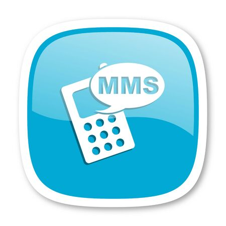 mms: mms blue glossy icon