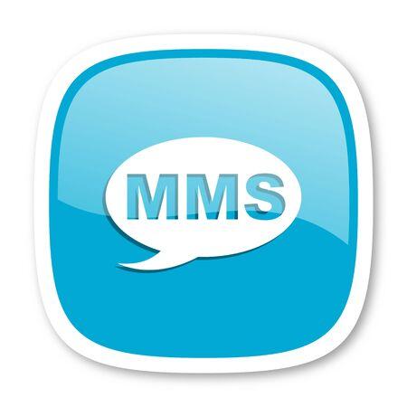 mms icon: mms blue glossy icon