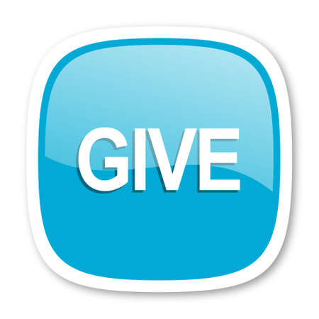 give: give blue glossy icon Stock Photo