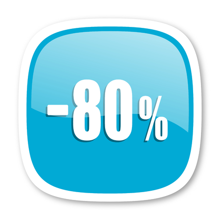 80: 80 percent sale retail blue glossy icon