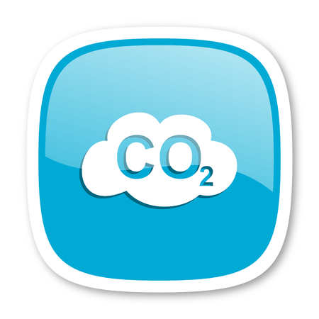 dioxide: carbon dioxide blue glossy icon