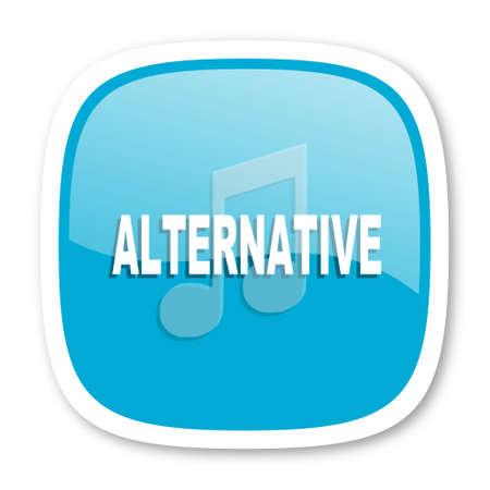 alternative: alternative music blue glossy icon Stock Photo