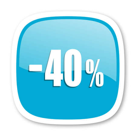 40: 40 percent sale retail blue glossy icon
