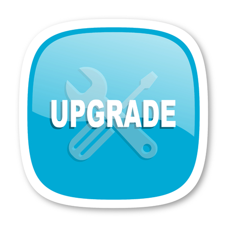 upgrade: upgrade blue glossy icon Stock Photo