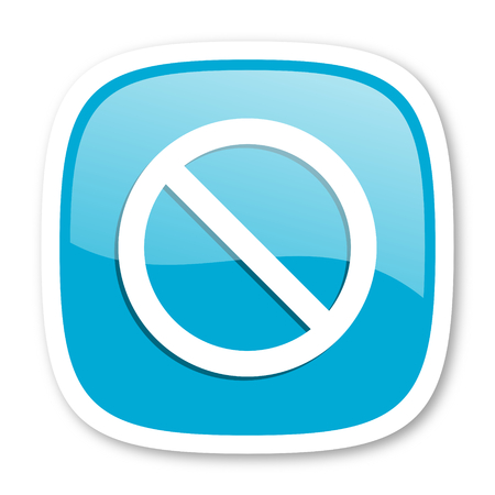 denied: access denied blue glossy icon Stock Photo