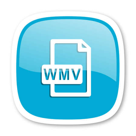wmv: wmv file blue glossy icon Stock Photo