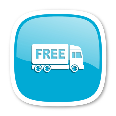 package sending: free delivery blue glossy icon
