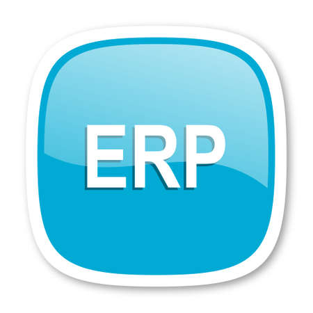 erp: erp blue glossy icon Stock Photo