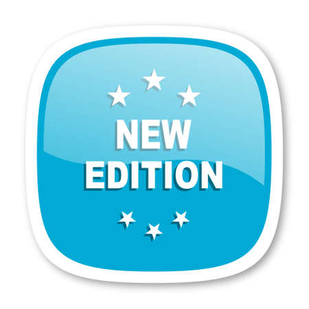 edition: new edition blue glossy icon Stock Photo