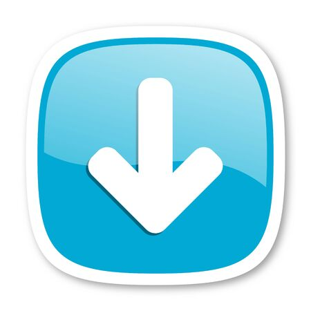 blue arrow: download arrow blue glossy icon Stock Photo