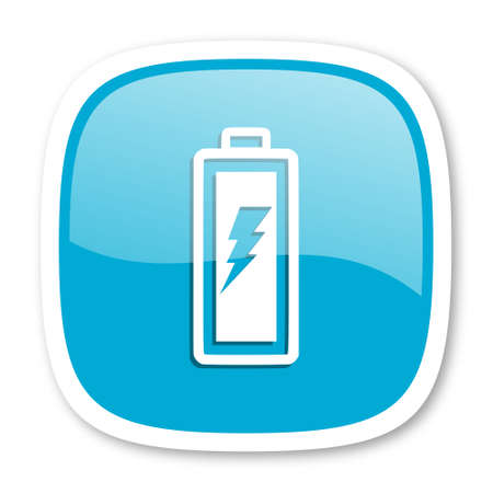 accuse: battery blue glossy icon