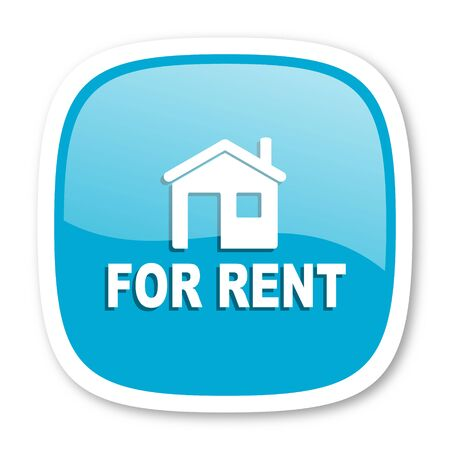 rent: for rent blue glossy icon