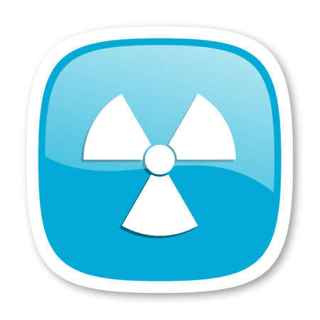 atomic: radiation blue glossy icon