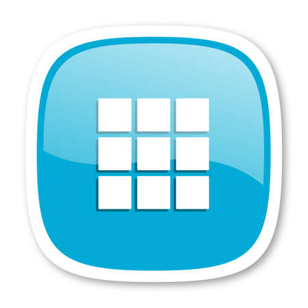 thumbnails: thumbnails grid blue glossy icon Stock Photo