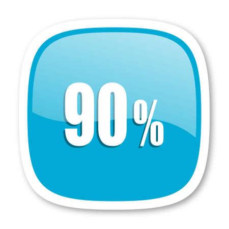 90: 90 percent blue glossy icon