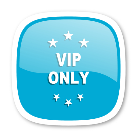 only: vip only blue glossy icon