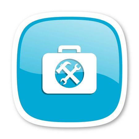 toolkit: toolkit blue glossy icon Stock Photo