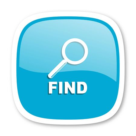 find: find blue glossy icon Stock Photo