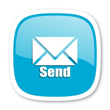 send: send blue glossy icon Stock Photo