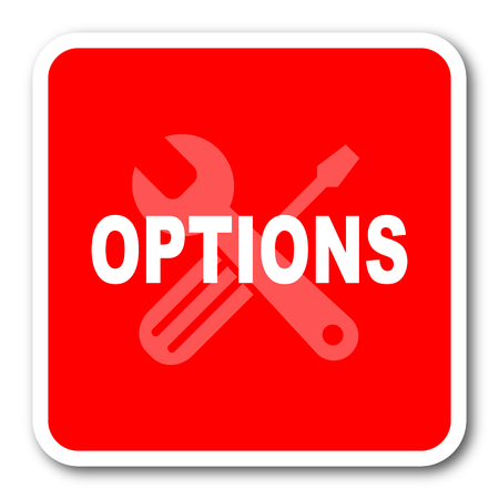 option key: options red square simple tag banner web icon Stock Photo
