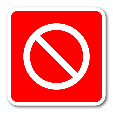 lock block: access denied red square simple tag banner web icon Stock Photo