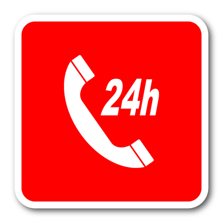 24 hour: 24 hour service red square simple tag banner web icon