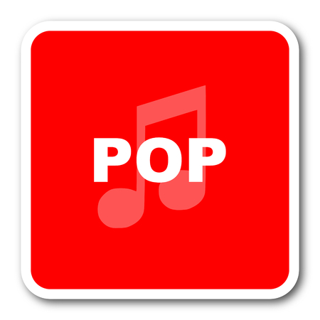 listen live stream: pop music red square simple tag banner web icon Stock Photo