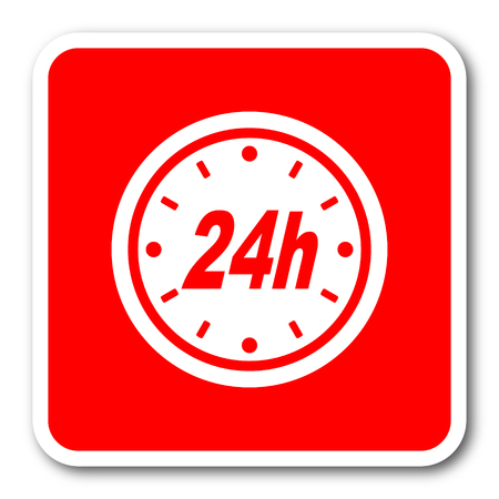 24h: 24h red square simple tag banner web icon